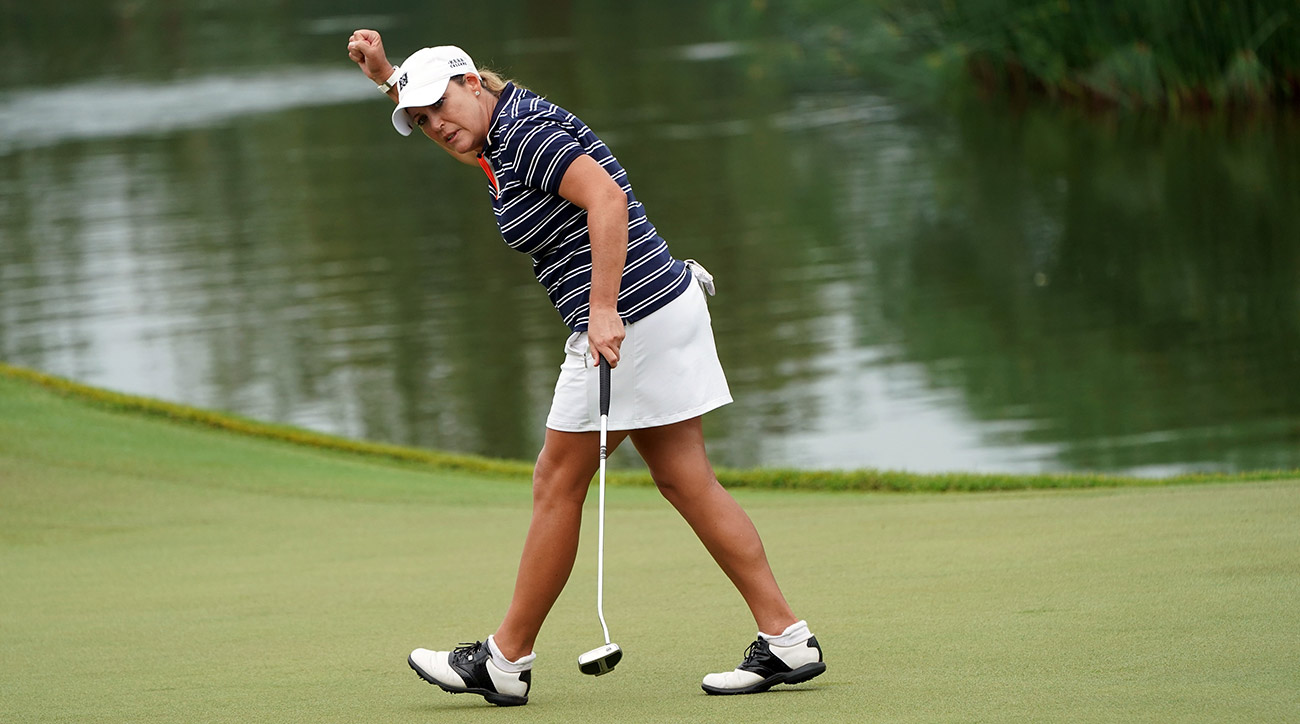 Cristie Kerr celebrates after a birdie on the 18th hole during the final round of the Sime Darby LPGA Malaysia at TPC Kuala Lumpur.