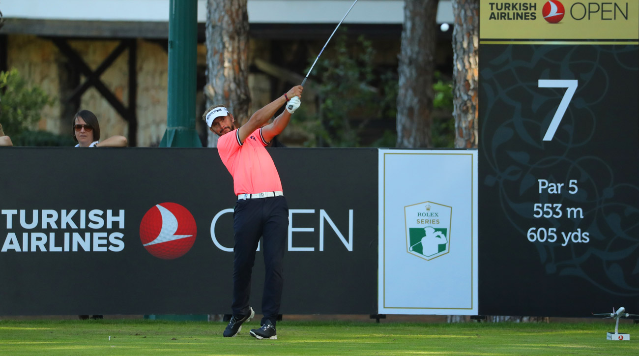 Joost Luiten tees off on the 7th hole during the first round of the Turkish Airlines Open.