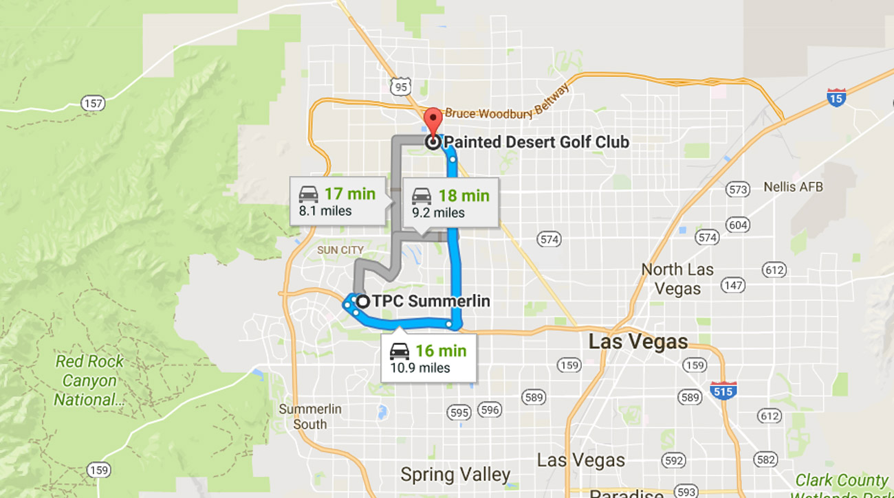 A map of Las Veags shows how close the plane crash was to the Shriners Hospitals for Children Open at TPC Summerlin.