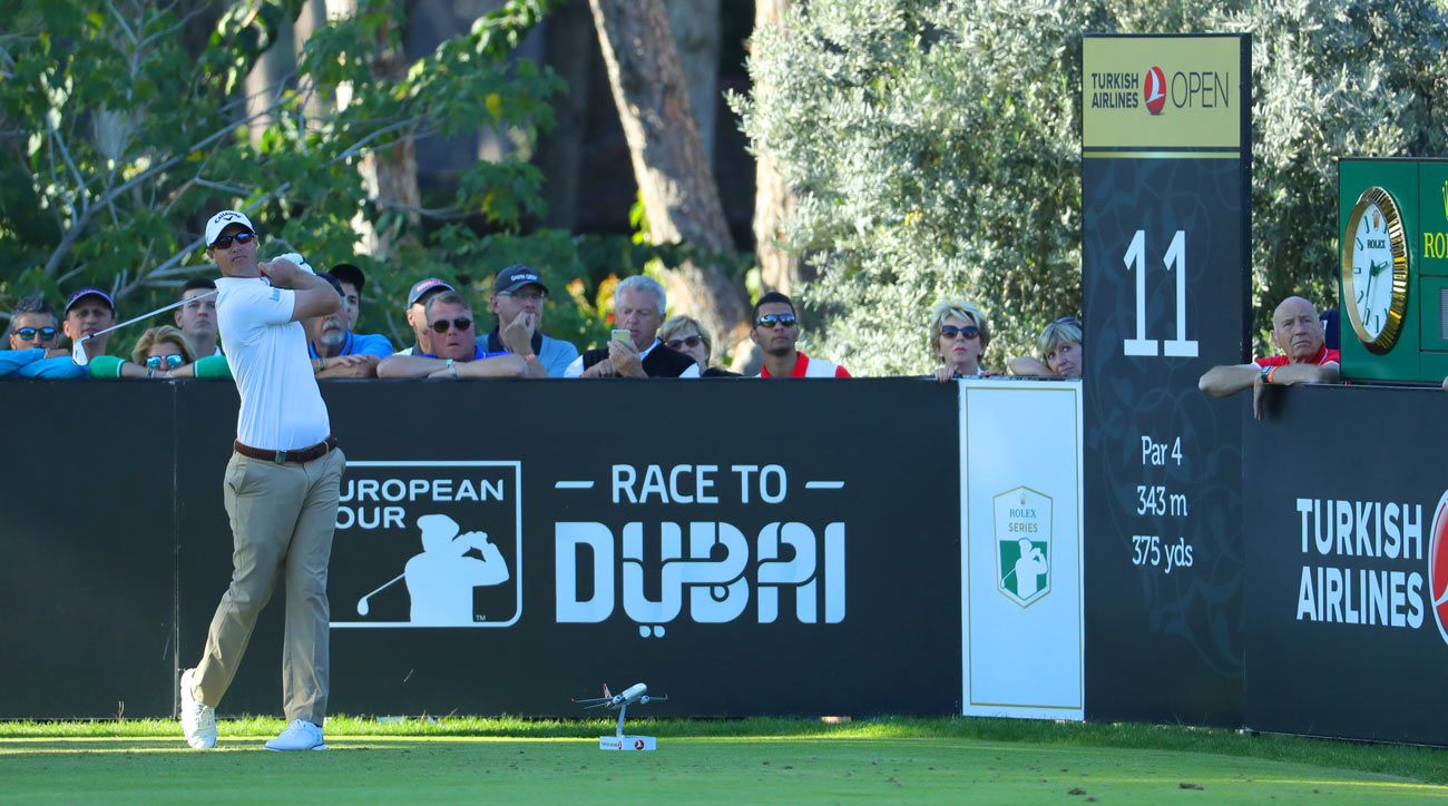 Nicolas Colsaerts tees off during the second round of the Turkish Airlines Open.
