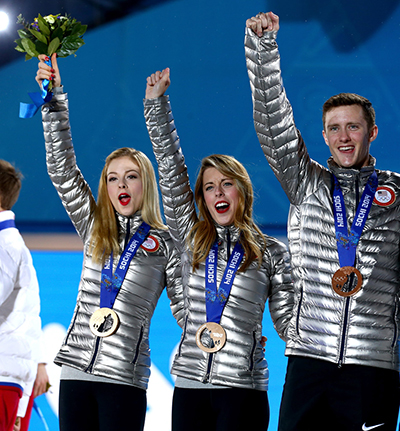 (L-R) Bronze medalists Gracie Gold, Ashley Wagner and Jeremy Abbott of the United States celebrate during the medal ceremony for the Team Figure Skating Overall on day 3 of the Sochi 2014 Winter Olympics at Medals Plaza in the Olympic Park on February 10, 2014 in Sochi, Russia.