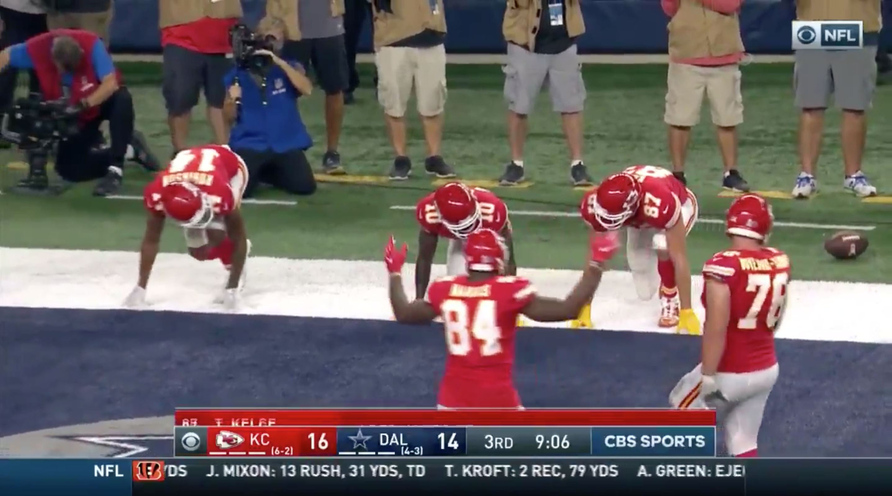 Travis Kelce celebration Chiefs TE has potato sack race video