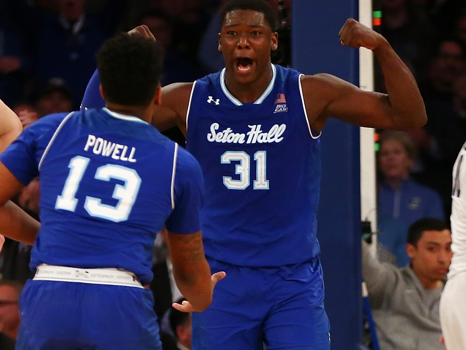 Seton Hall senior Angel Delgado helps the Pirates dominate the glass.