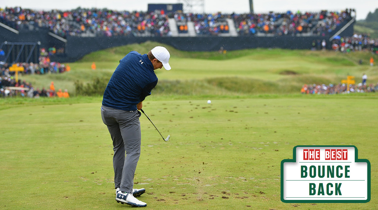 Jordan Spieth rebounded in a big way on the 14th, drilling this iron into tap-in birdie range.