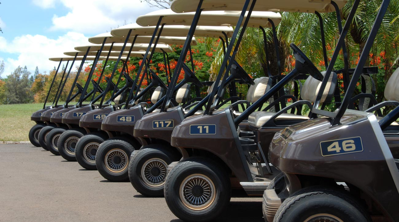 Golf carts parked and waiting for golfers at a course.