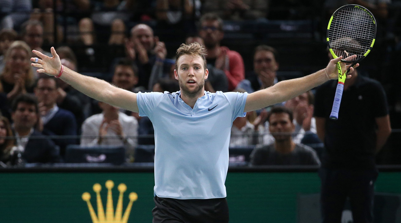 Jack Sock during his final match against Filip Krajinovic of Serbia on day 7 of the 2017 Rolex Paris Masters.