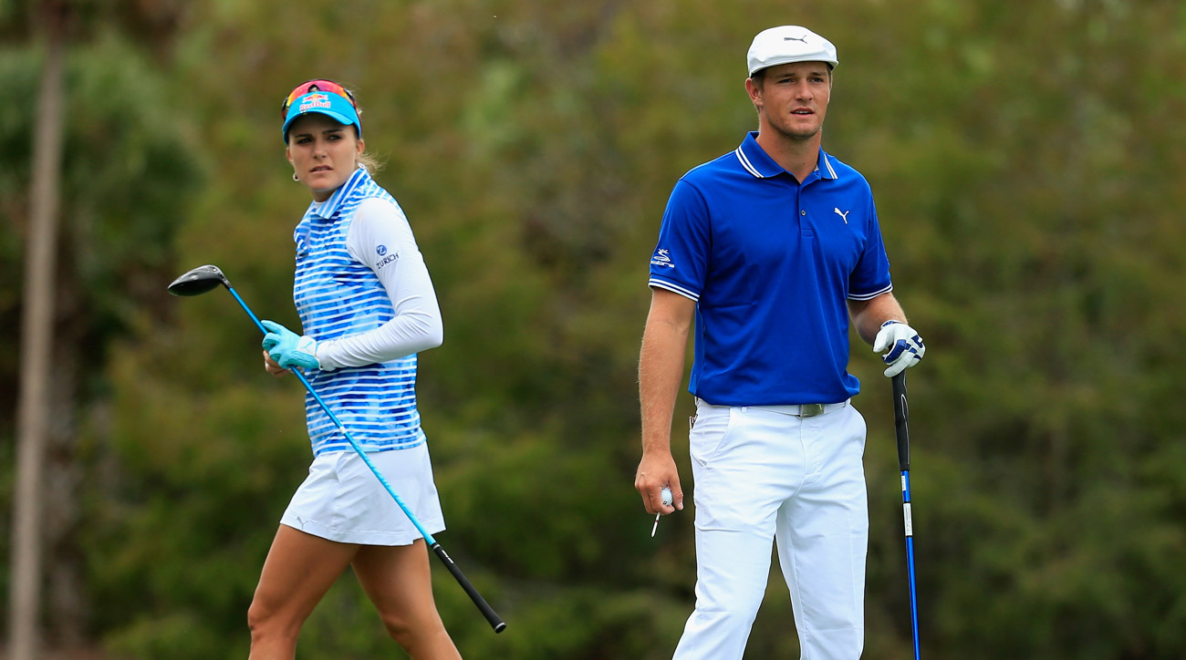Lexi Thompson and her playing partner Bryson DeChambeau during the final round of the 2016 Franklin Templeton Shootout.