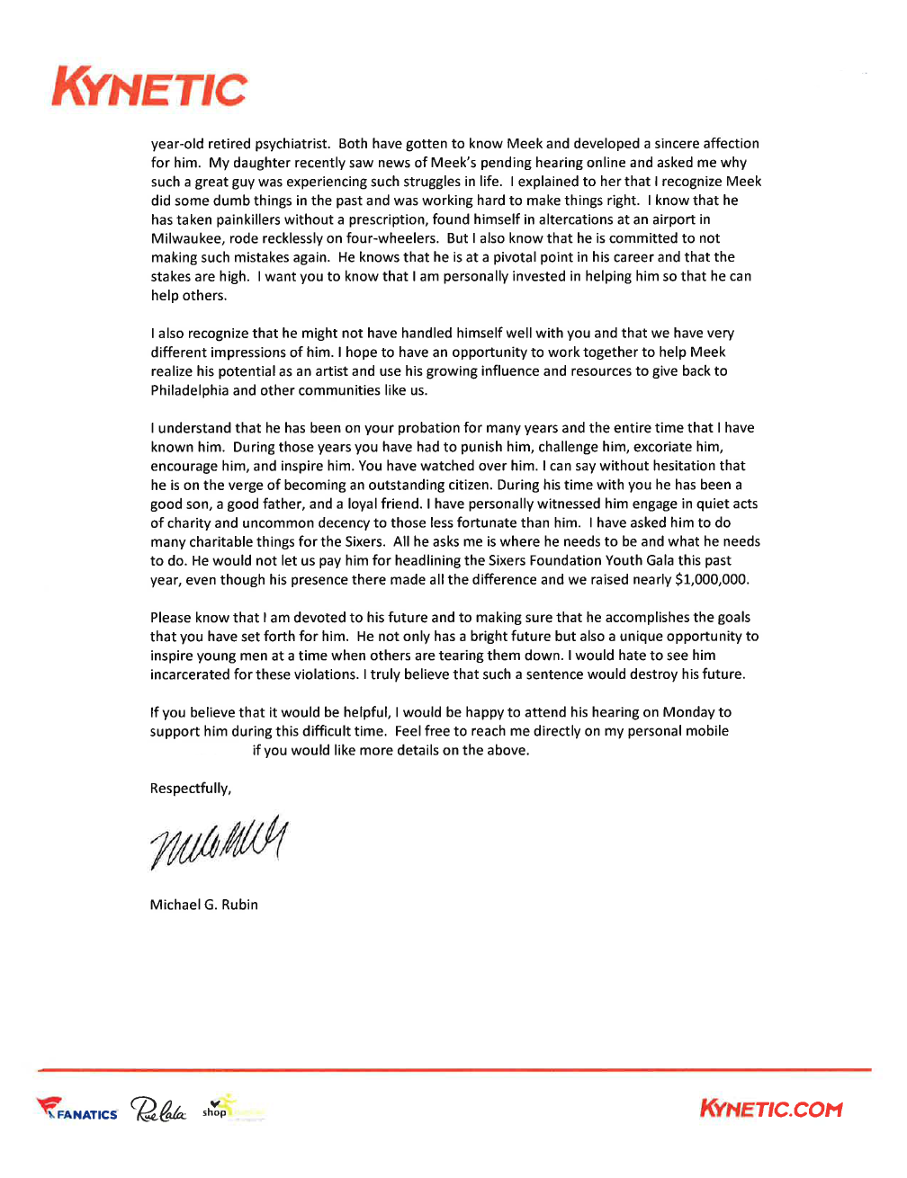 76ers Co-Owner Michael Rubin Writes Letter to Judge on Meek Mill's Behalf
