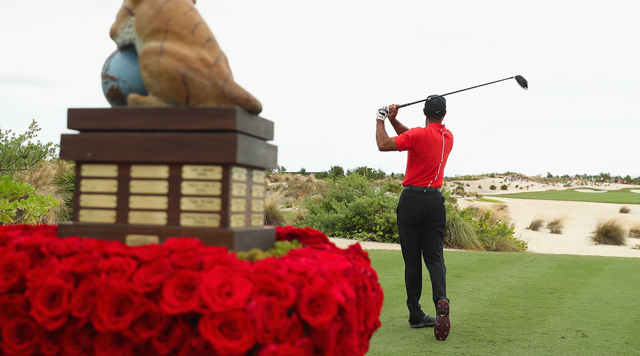 Tiger Woods tees off during the 2016 Hero World Challenge.
