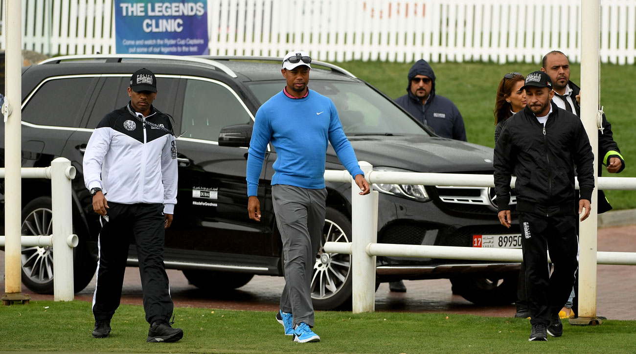 Tiger Woods after withdrawing from the 2017 Omega Dubai Desert Classic, his last pro golf tournament.