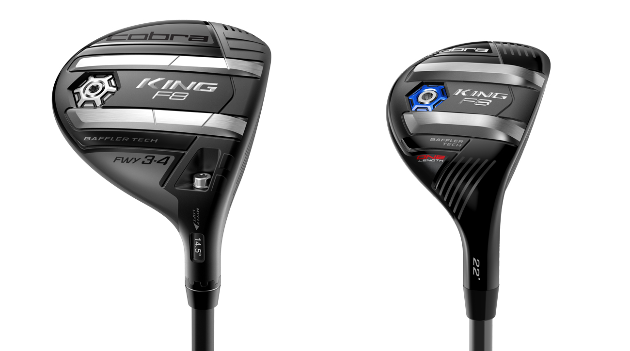 The new Cobra F8 fairway wood (left) and F8 hybrid.