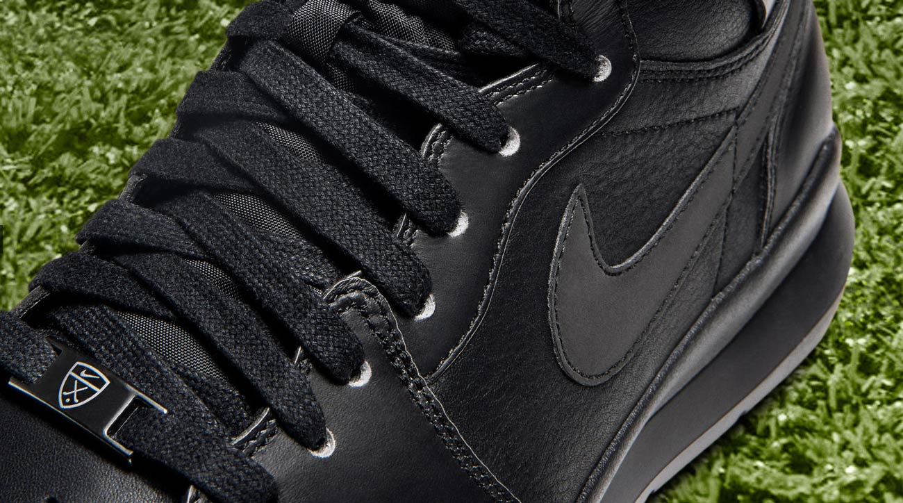 A close-up of the Nike Air Jordan 1 Golf Premium shoes.