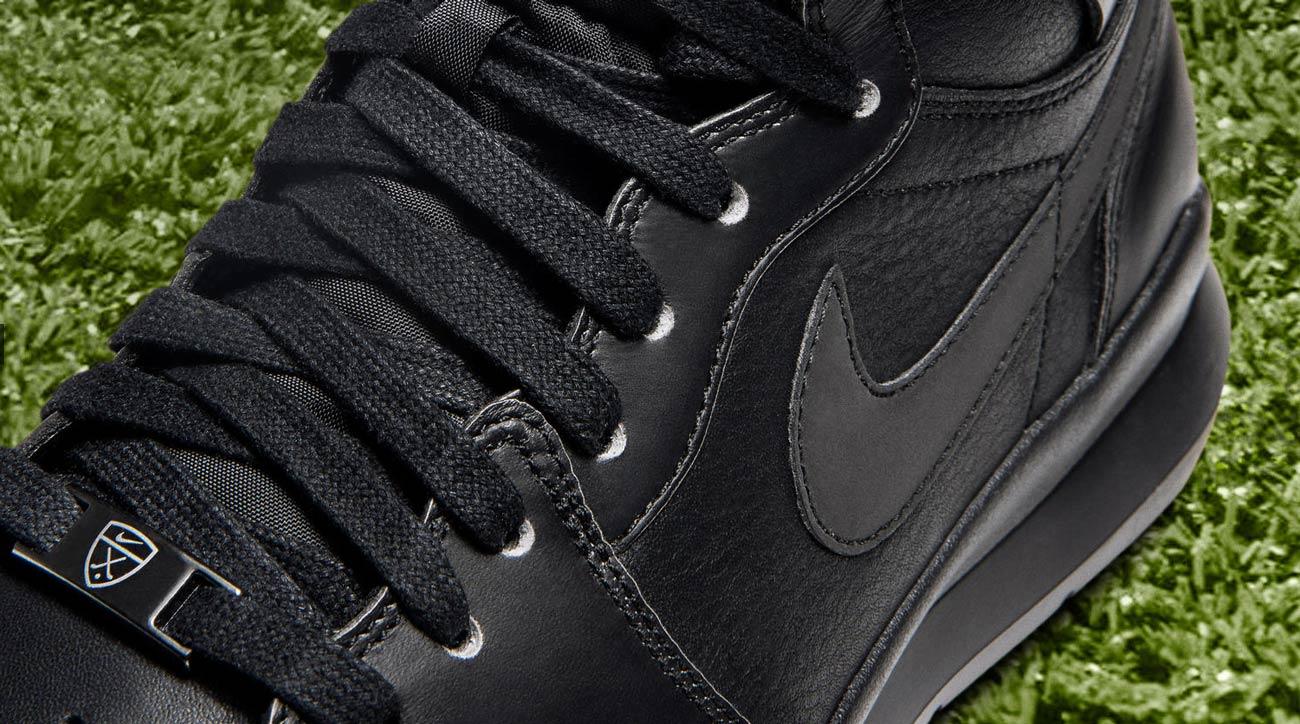 A close-up of the Nike Air Jordan 1 Golf Premium shoes.