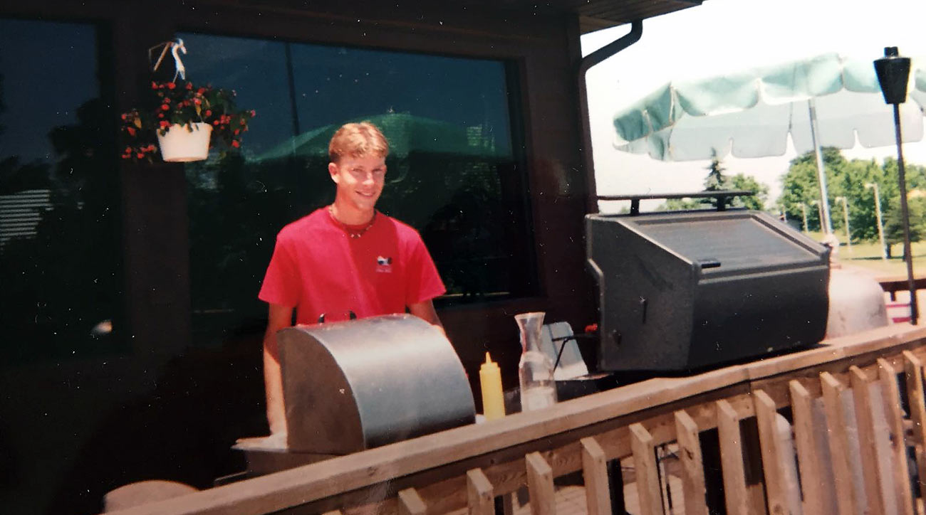 The grillmaster at work in the summer of 1996.