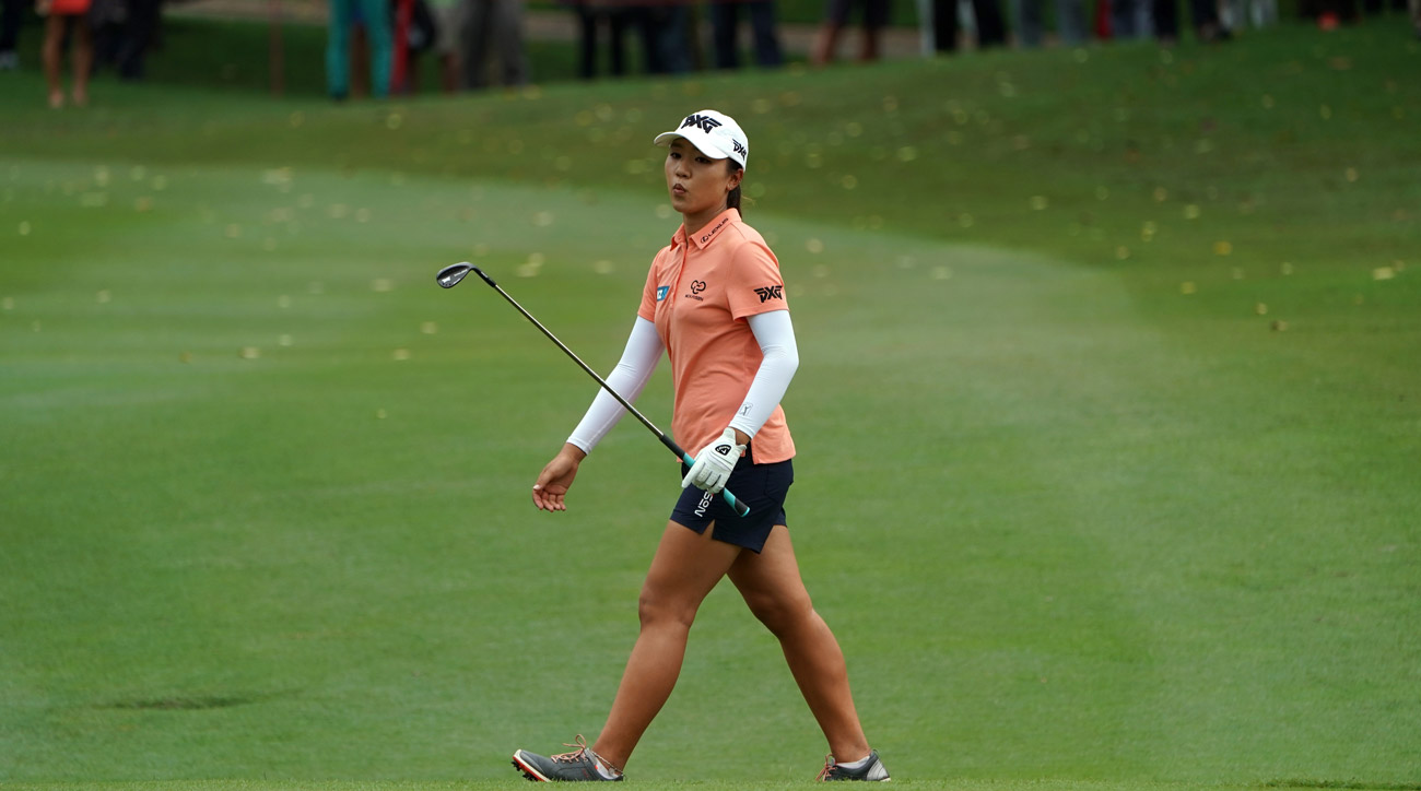 Lydia Ko reacts on the 18th hole at the Sime Darby LPGA Malaysia at TPC Kuala Lumpur East Course