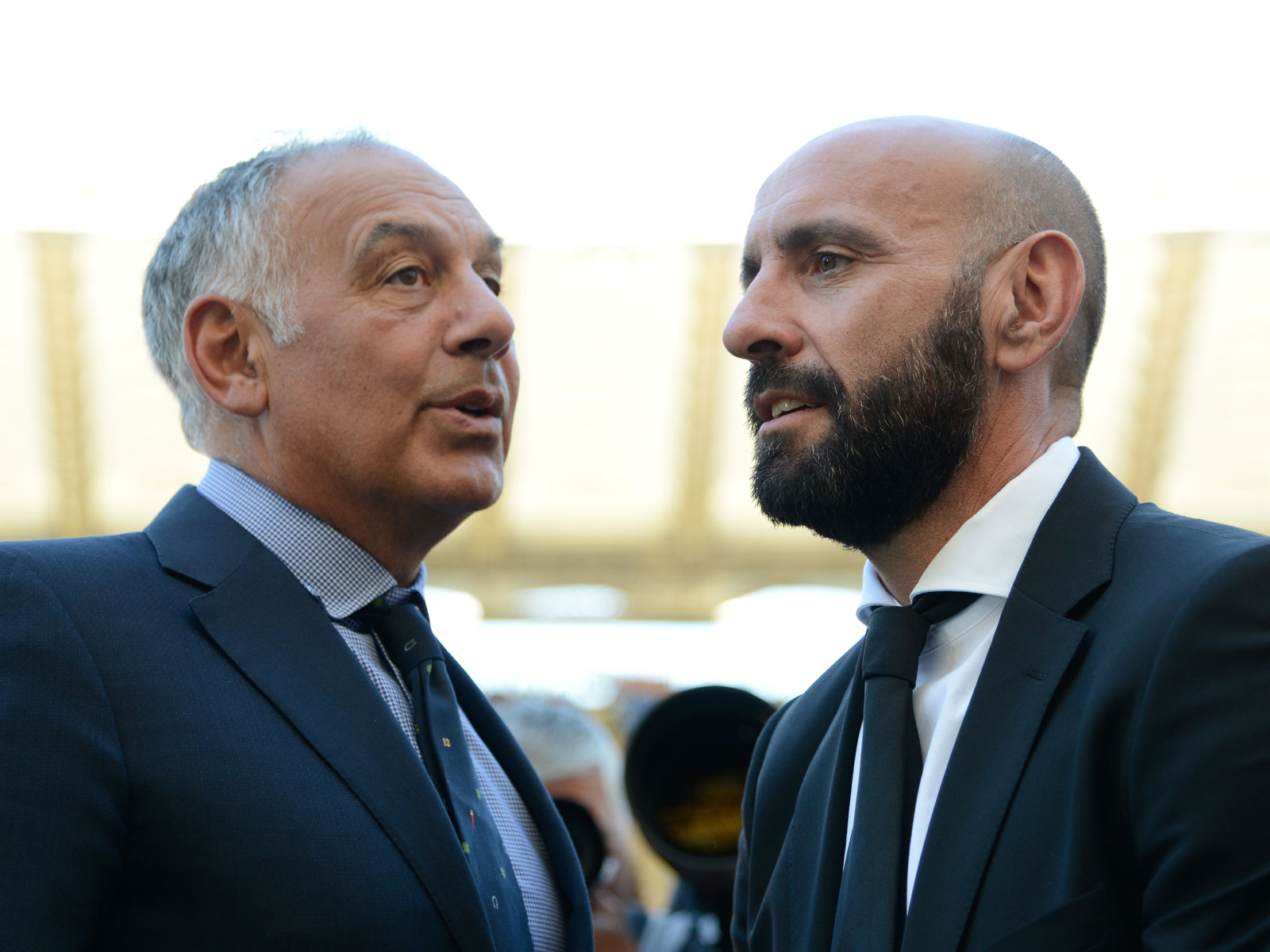 AS Roma president James Pallotta and sporting director Monchi