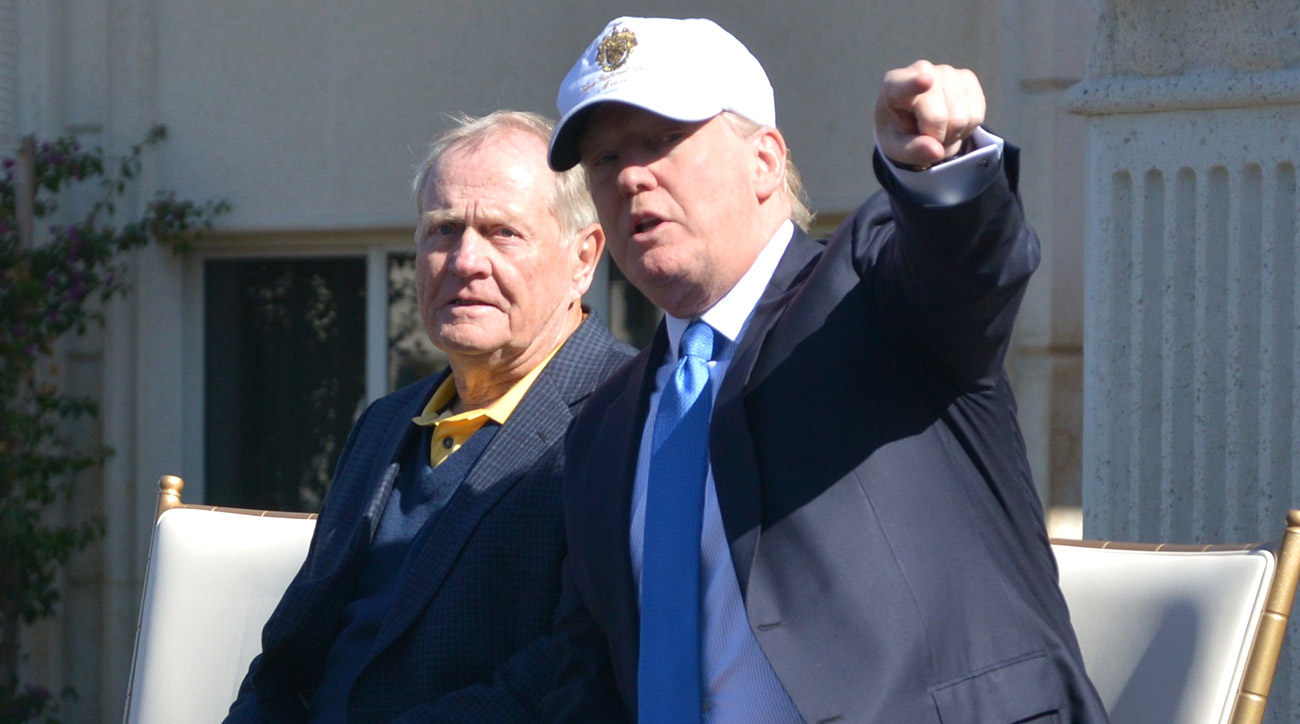 Jack Nicklaus and Donald Trump chat during the unveiling of the Jack Nicklaus Villa at Trump Doral at Trump National Doral in 2015