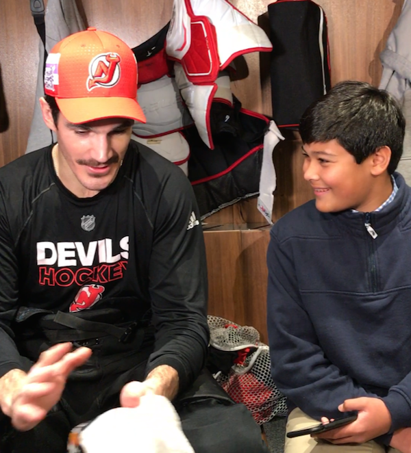 <p>Devils center Brian Boyle and Christopher</p>