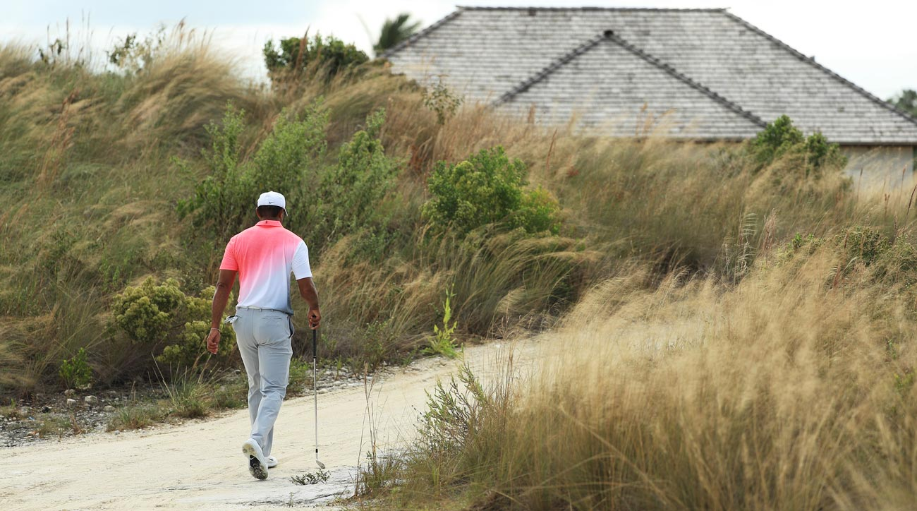 Tiger Woods of the United States walks during the pro-am prior to the Hero World Challenge.