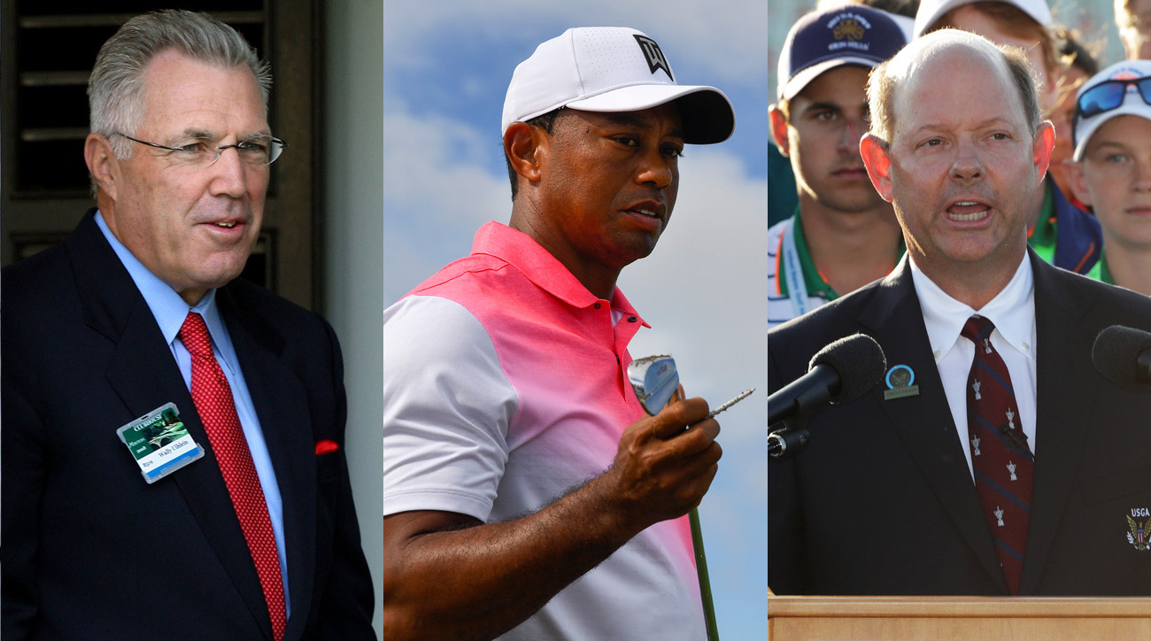 From left to right: Acushnet CEO Wally Uihlein, Tiger Woods, andUSGA Executive Director Mike Davis.