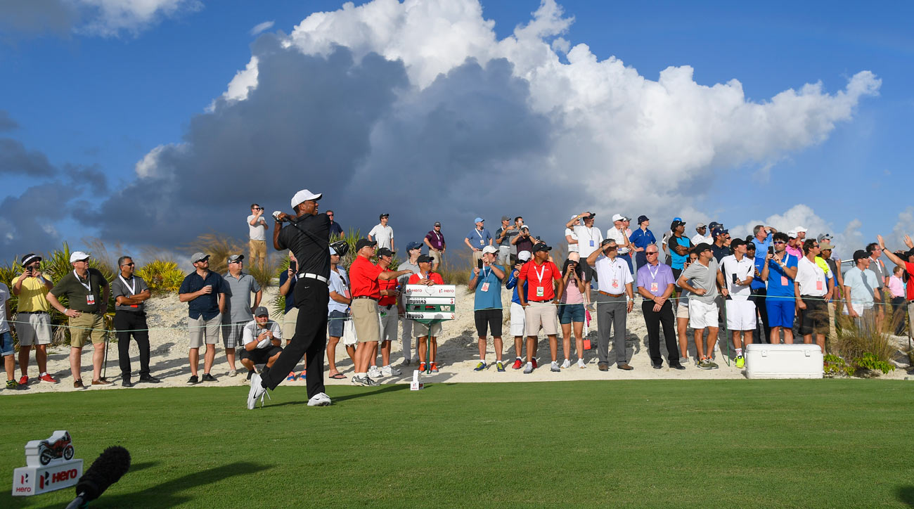 Tiger Woods plays his shot from the 16th tee during the first round of the Hero World Challenge.