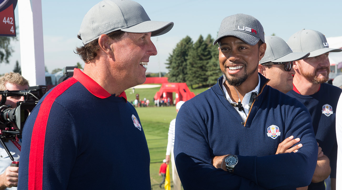 Mickelson and Woods have seven green jackets between them.