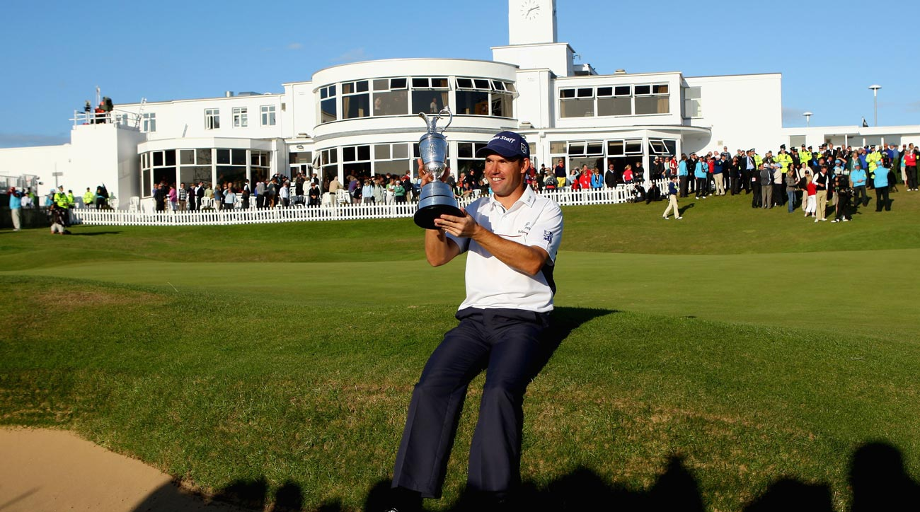 Padraig Harrington celebrates with the Claret Jug after winning the 137th Open Championship at Royal Birkdale.