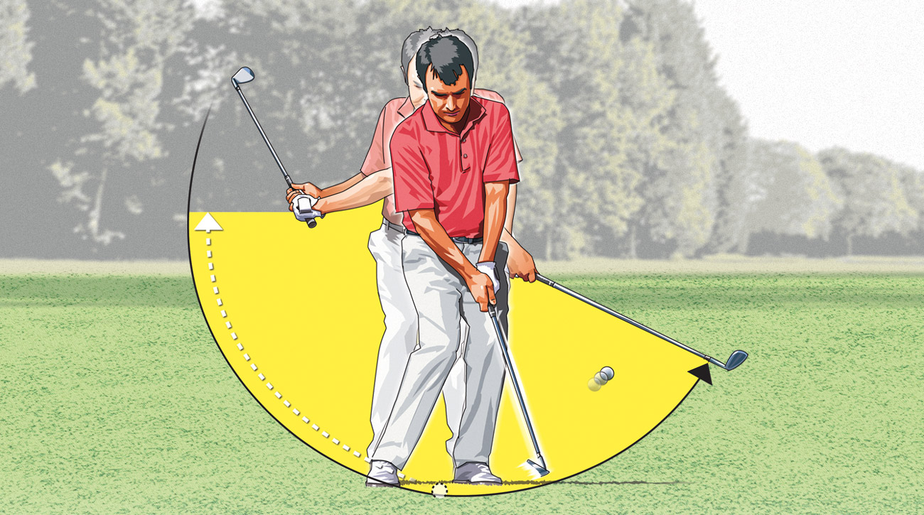 Instead of trying to pitch using a short backswing and a long follow-through, flip things around. A longer backswing and a shorter follow-through will help smooth out your motion for better contact and distance control.