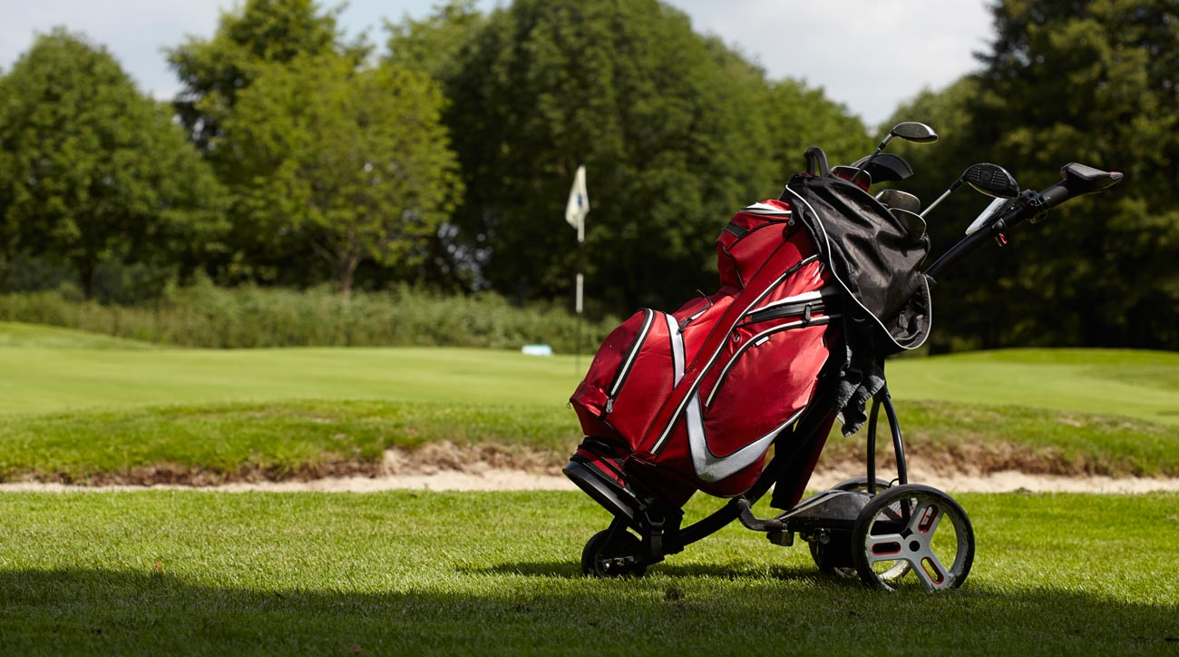 A pushcart is a great way to avoid carrying your clubs all day without taking a cart.