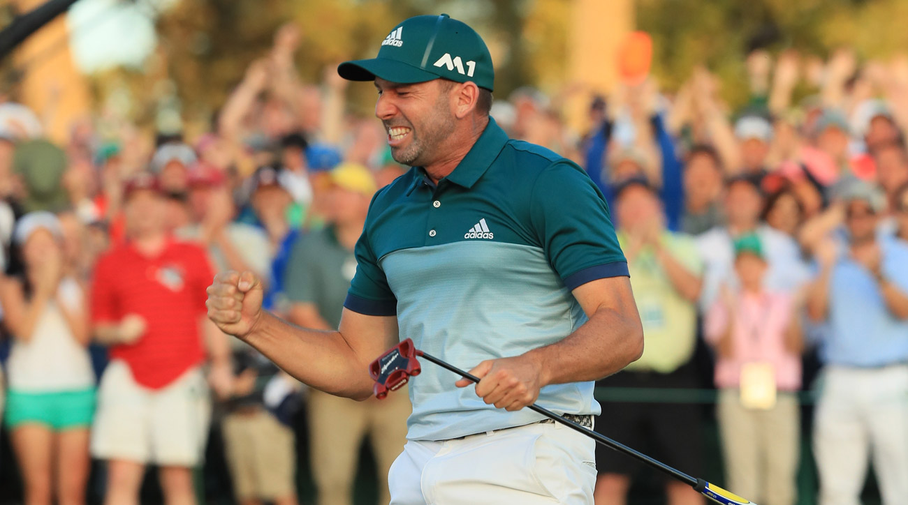 Sergio Garcia celebrates after making the winning putt at the 2017 Masters.