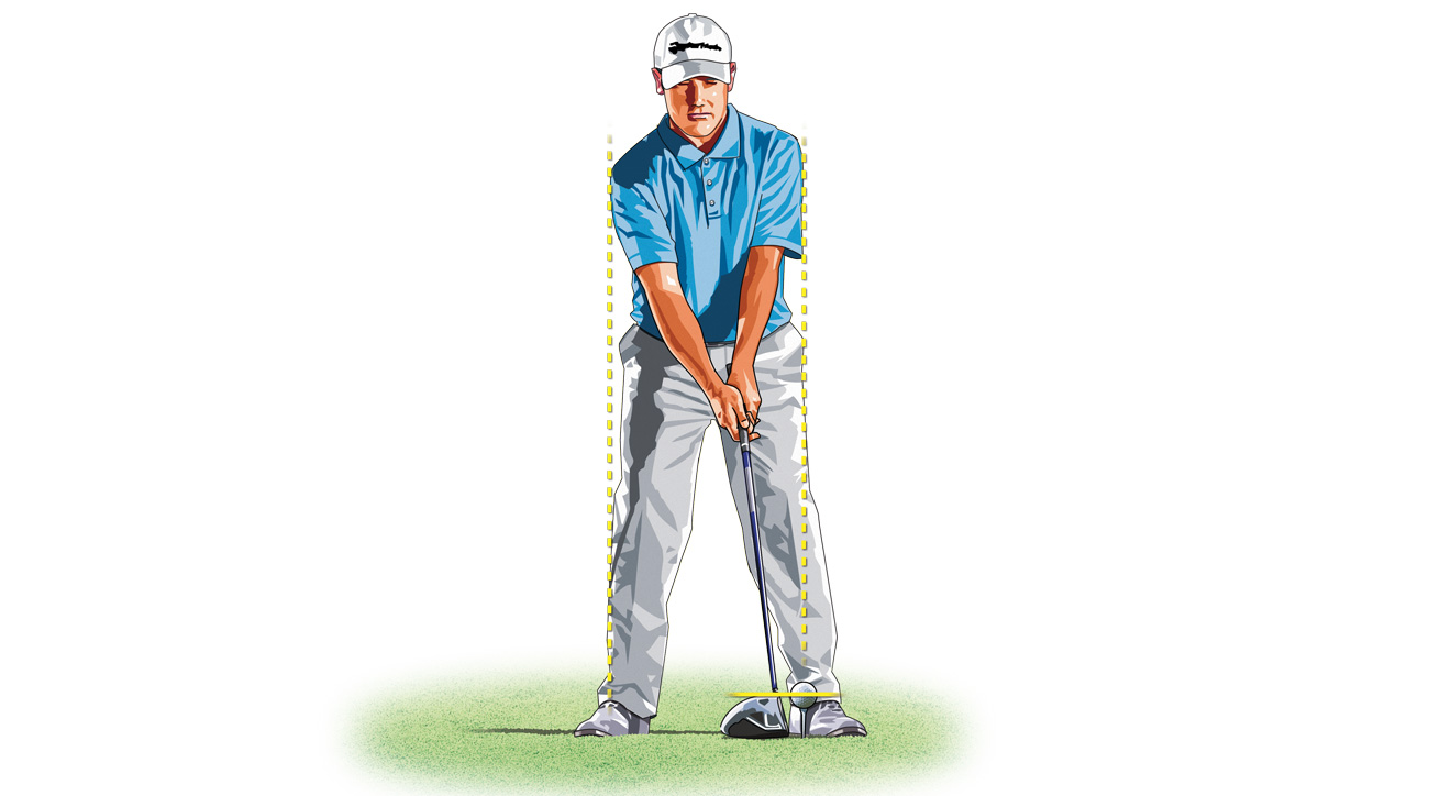 For more distance, tee your ball up and place it forward in your stance.