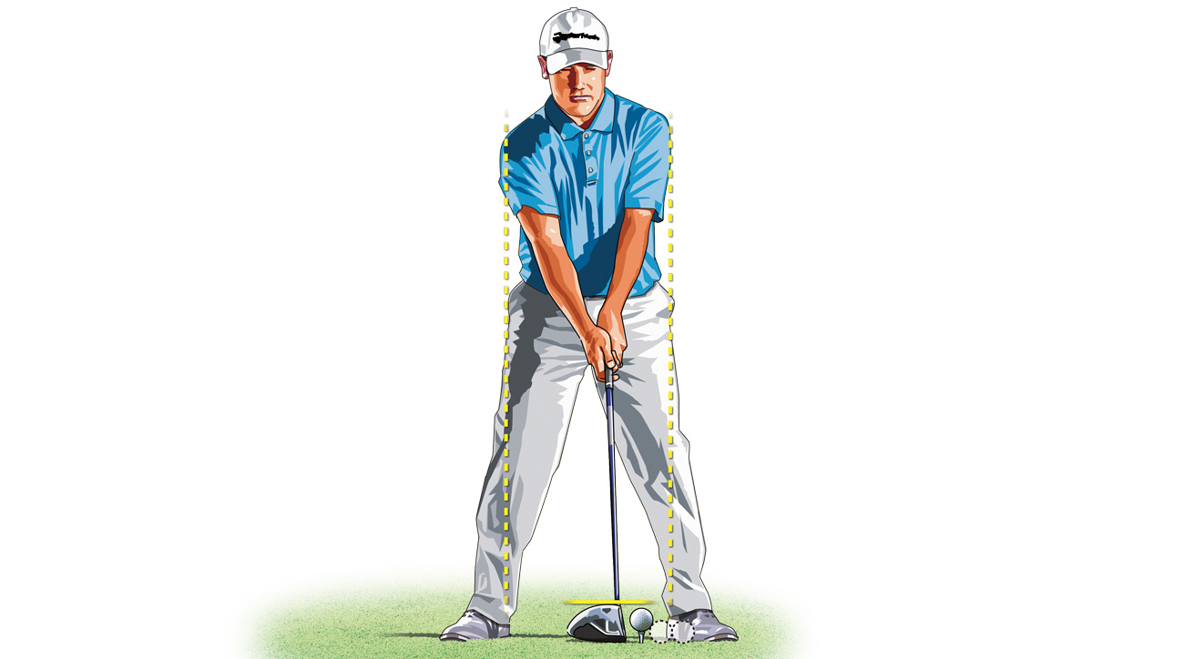 For more accuracy, tee the ball down and place it back in your stance.