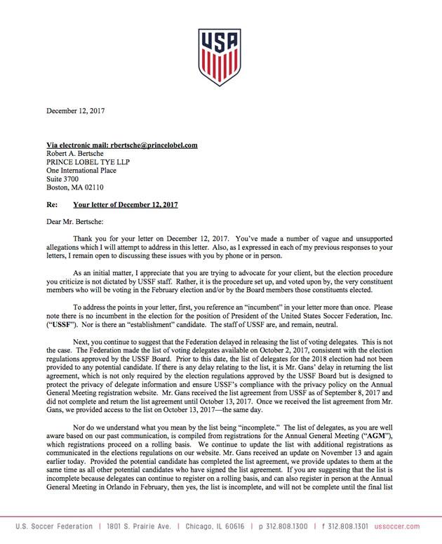 Steve Gans is one of nine announced candidates for US Soccer president