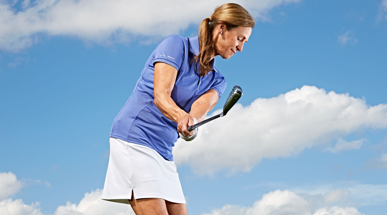 When you do it right, your club-face and right-wrist angles should be very close to the angle of your spine.