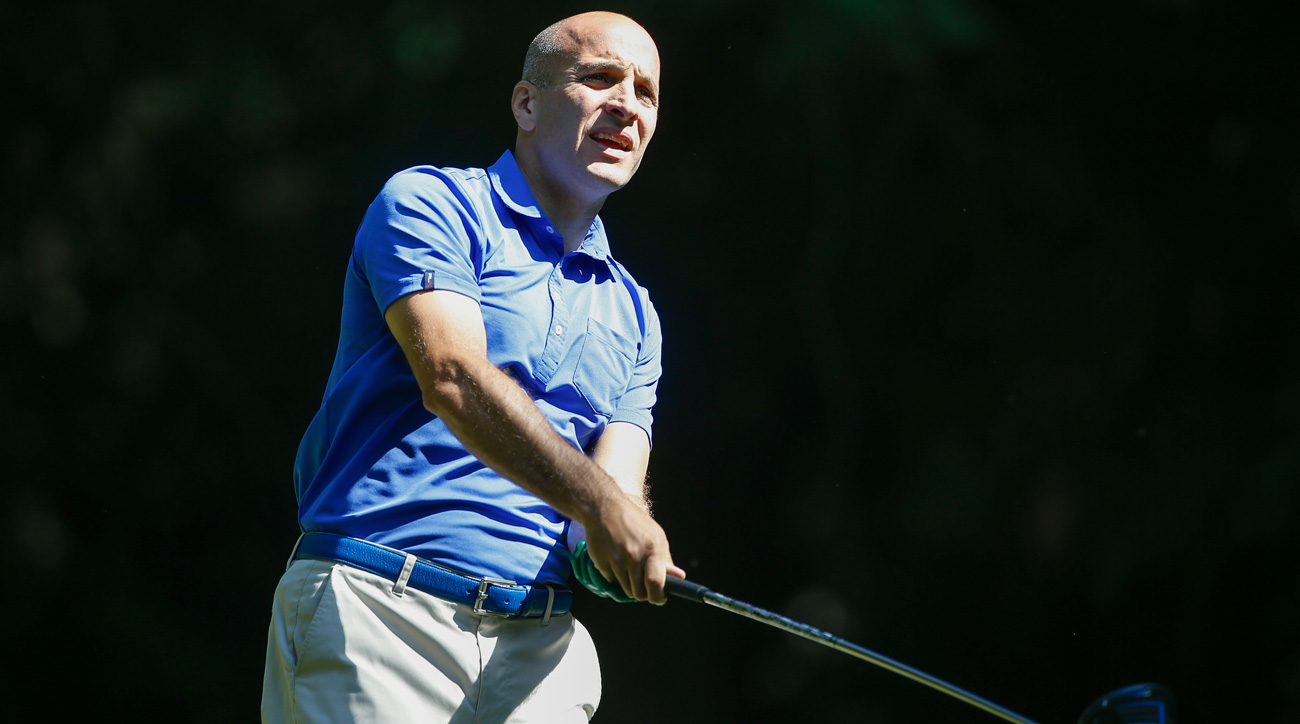 Pete Bevacqua, CEO of the PGA of America, hits a tee shot at the 2016 KPMG Women's PGA Championship.