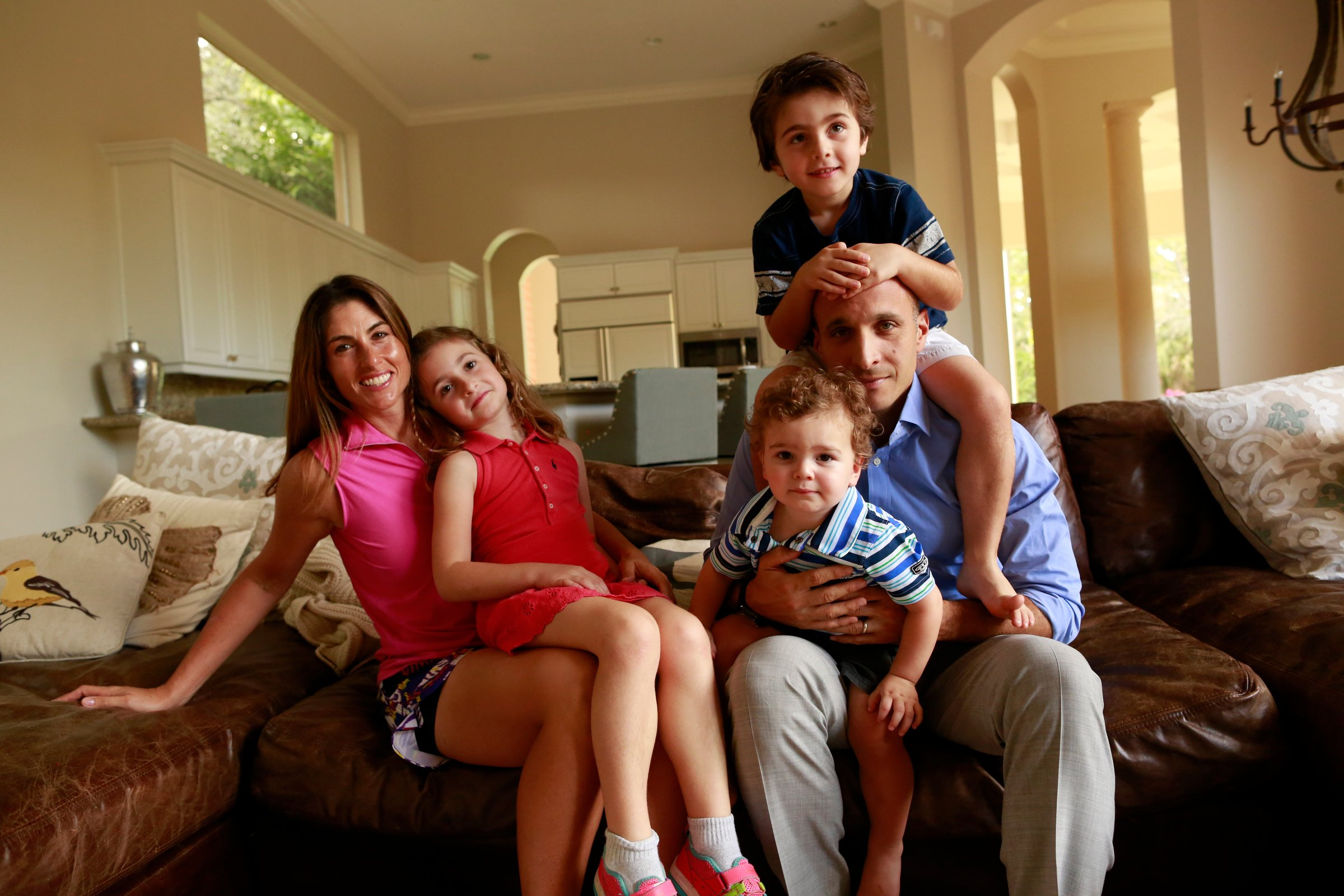 Pete Bevacqua with his wife, Tiffany, and their three children at homein 2015.