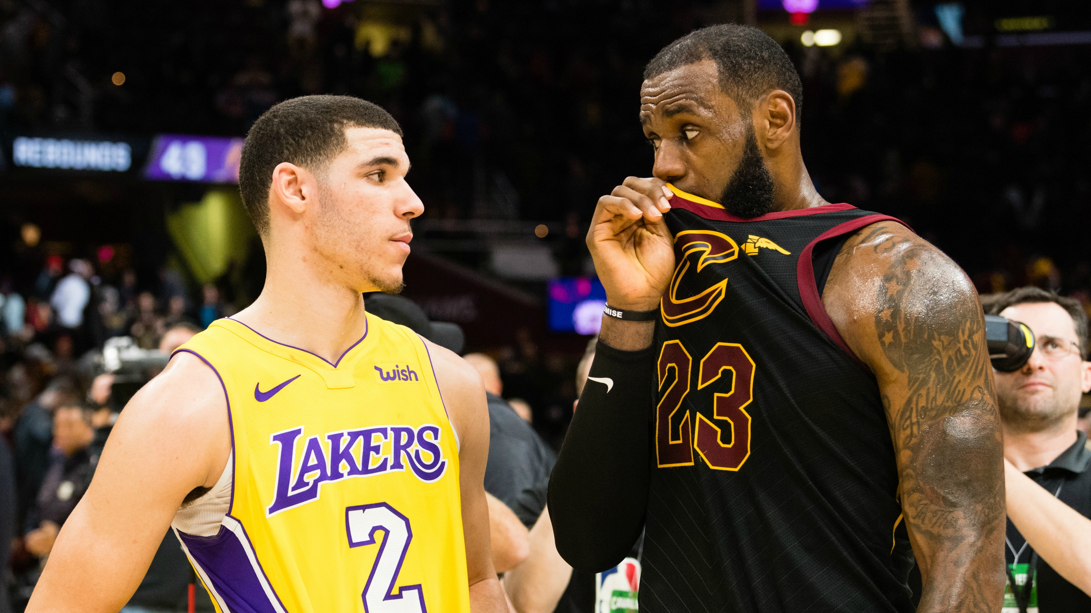 A microphone picked up some of what LeBron James said to Lonzo Ball after last night's Cavs-Lakers game.