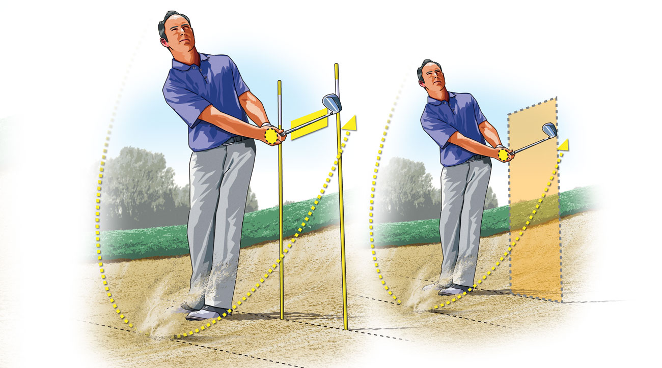 """The goal is to get your right palm and the clubshaft to touch the """"wall"""" at about hip height in your finish."""