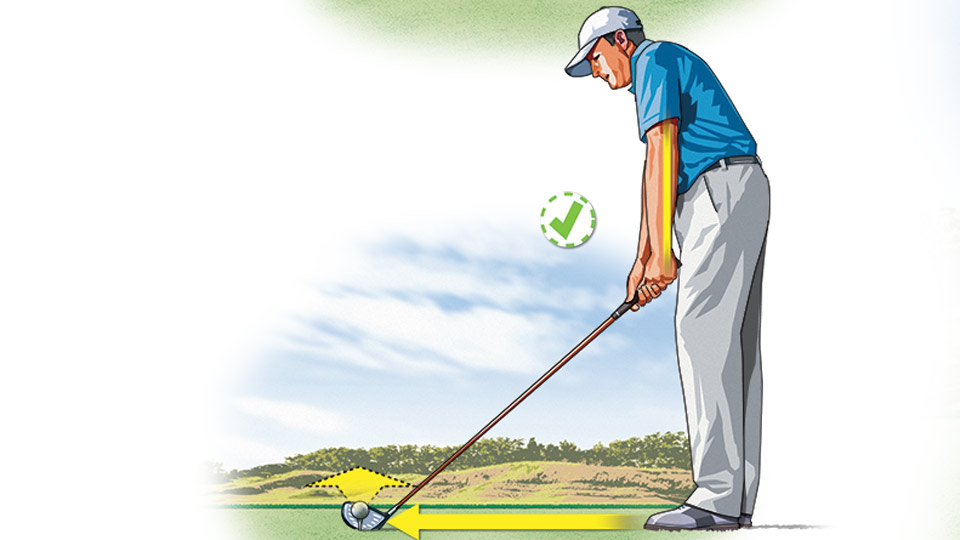 Playing the ball slightly farther back in your stance and allowing your arms to drop straight down to the ground at address will help the clubhead meet the ball earlier, which is the key to lower, longer drives.