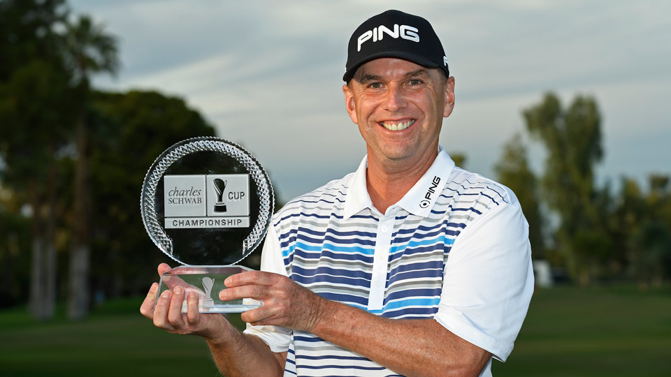 Kevin Sutherland won his first career Champions Tour event AND the Charles Schwab Cup over Bernhard Langer.
