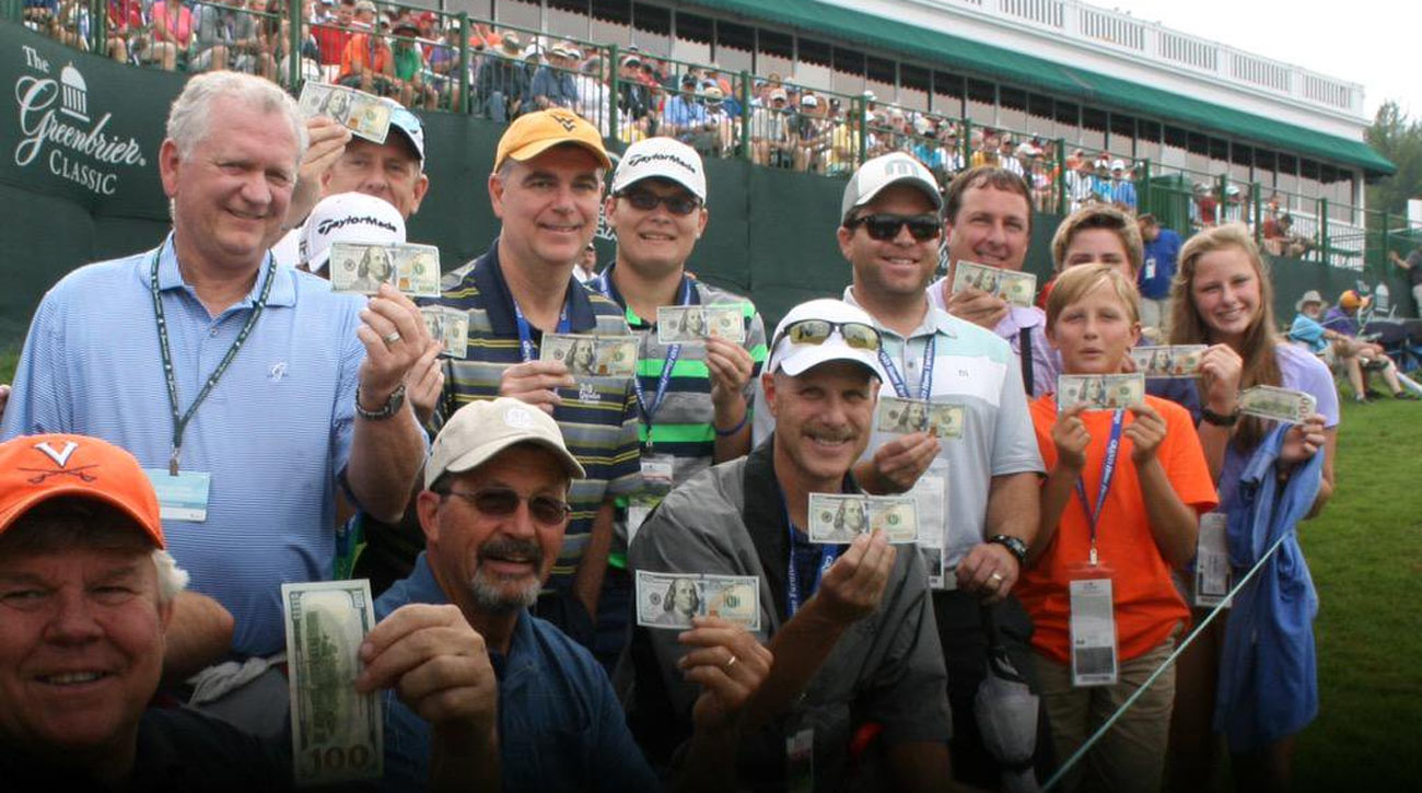 Twitter user @JimWorkmanWV posted this photo of fans holding up their cash payouts after George McNeill made an ace at the 2015 Greenbrier Classic.