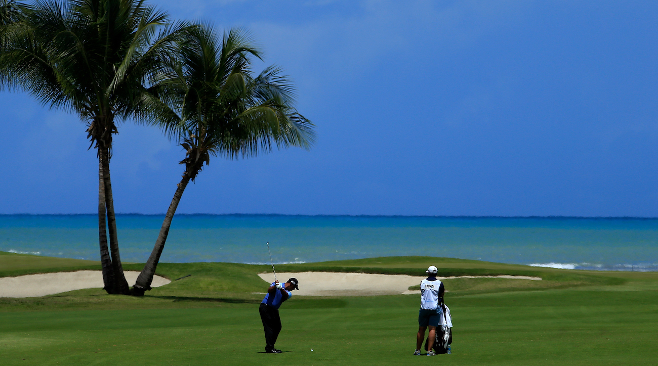 Rafael Campos of Puerto Rico plays his second shot on the 12th hole during the final round of the 2017 Puerto Rico Open.