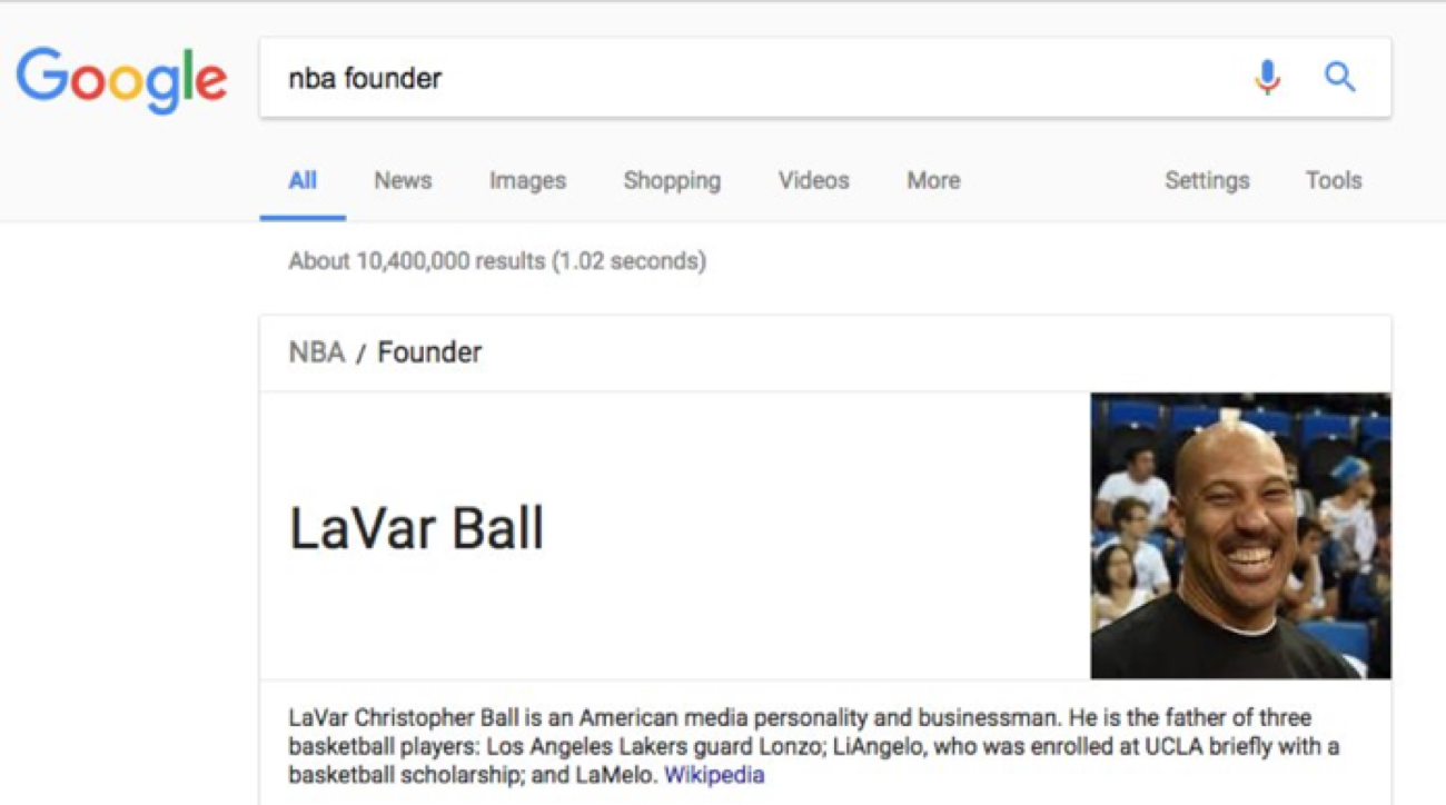 Google glitch calls LaVar Ball founder of the National Basketball Association