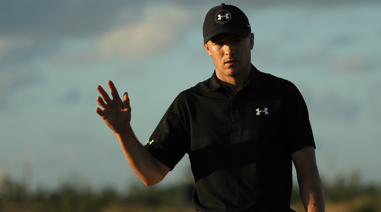 Jordan Spieth reacts on the 17th green during the third round of the Hero World Challenge in December.