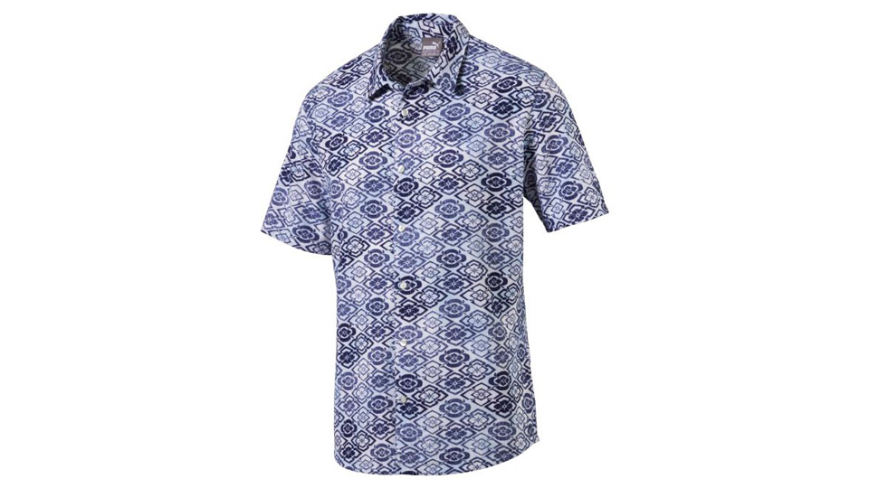 Puma's Aloha Woven Golf Shirt is available for purchase on Puma's website for $75.