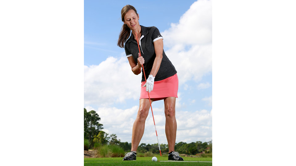 Try tilting your torso away from the target to get your swing path back on track.