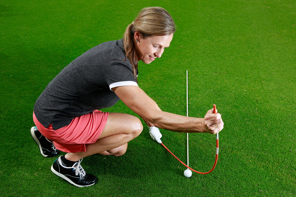 If your shoulders are open, your swing path will be to the left — just as your divot revealed.