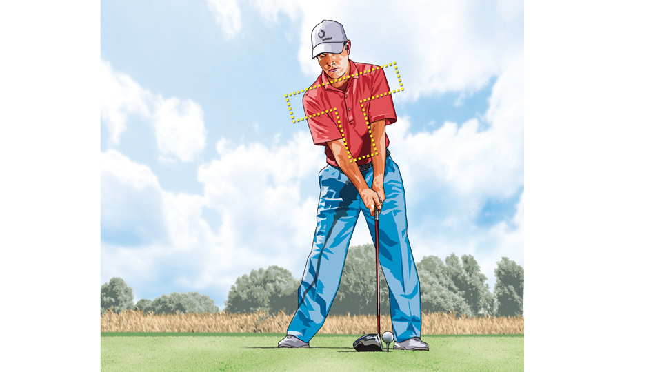 "Want maximum power off the tee? Set up with your shoulders and spine in a tilted letter ""T."""