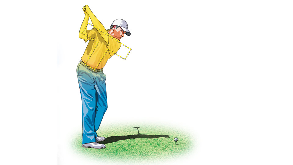 "In a proper ""T"" position at the top of the takeaway, your back should face the target."