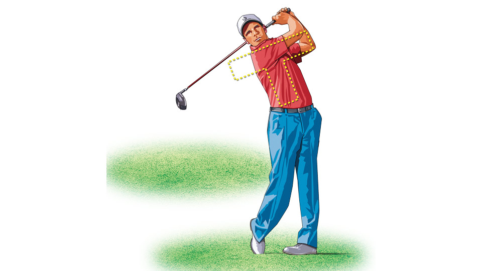 "In a proper ""T"" follow-through, your right shoulder should face the target."